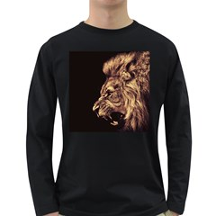 Angry Male Lion Gold Long Sleeve Dark T Shirts