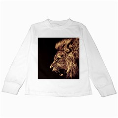 Angry Male Lion Gold Kids Long Sleeve T Shirts