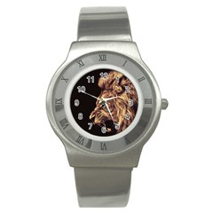 Angry Male Lion Gold Stainless Steel Watch
