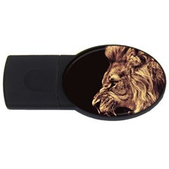 Angry Male Lion Gold Usb Flash Drive Oval (4 Gb)
