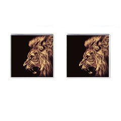 Angry Male Lion Gold Cufflinks (square)
