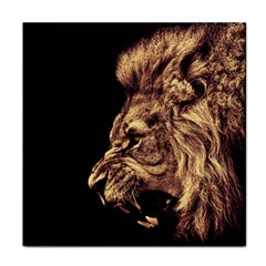 Angry Male Lion Gold Face Towel