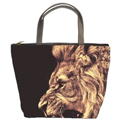 Angry Male Lion Gold Bucket Bags