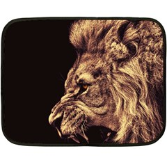 Angry Male Lion Gold Double Sided Fleece Blanket (mini)