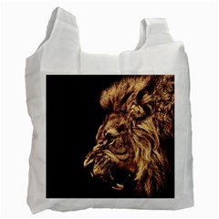Angry Male Lion Gold Recycle Bag (two Side)