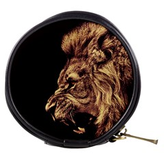 Angry Male Lion Gold Mini Makeup Bags