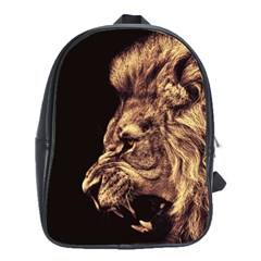 Angry Male Lion Gold School Bag (large)