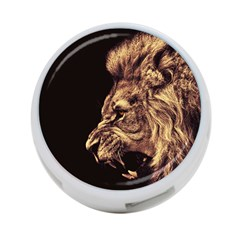 Angry Male Lion Gold 4 Port Usb Hub (one Side)