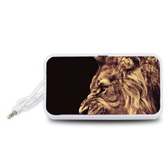 Angry Male Lion Gold Portable Speaker (white)