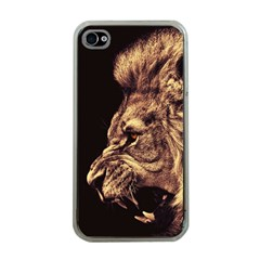 Angry Male Lion Gold Apple Iphone 4 Case (clear)