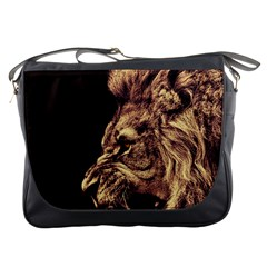 Angry Male Lion Gold Messenger Bags
