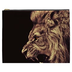 Angry Male Lion Gold Cosmetic Bag (xxxl)