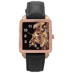 Angry Male Lion Gold Rose Gold Leather Watch