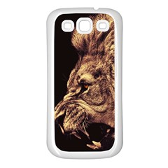 Angry Male Lion Gold Samsung Galaxy S3 Back Case (white)
