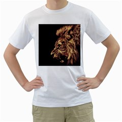 Angry Male Lion Gold Men s T Shirt (white)