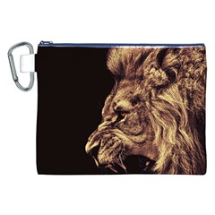 Angry Male Lion Gold Canvas Cosmetic Bag (xxl)