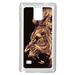 Angry Male Lion Gold Samsung Galaxy Note 4 Case (white)