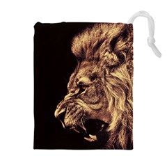 Angry Male Lion Gold Drawstring Pouches (extra Large)
