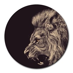 Angry Male Lion Round Mousepads