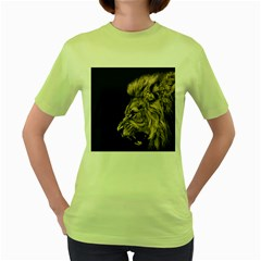 Angry Male Lion Women s Green T Shirt
