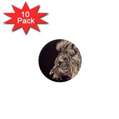 Angry Male Lion 1  Mini Magnet (10 Pack)