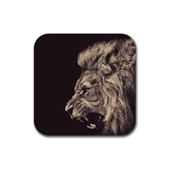 Angry Male Lion Rubber Coaster (square)