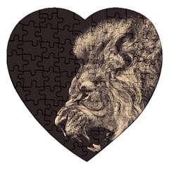 Angry Male Lion Jigsaw Puzzle (heart)