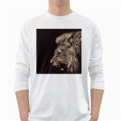 Angry Male Lion White Long Sleeve T Shirts