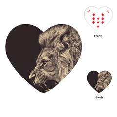 Angry Male Lion Playing Cards (heart)