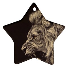 Angry Male Lion Star Ornament (two Sides)