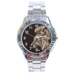 Angry Male Lion Stainless Steel Analogue Watch