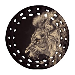 Angry Male Lion Round Filigree Ornament (two Sides)