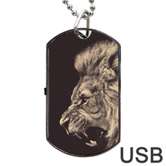 Angry Male Lion Dog Tag Usb Flash (two Sides)