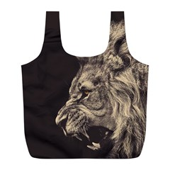 Angry Male Lion Full Print Recycle Bags (l)