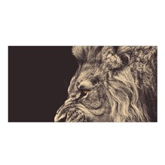 Angry Male Lion Satin Shawl
