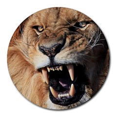 Male Lion Angry Round Mousepads