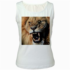 Male Lion Angry Women s White Tank Top