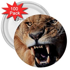 Male Lion Angry 3  Buttons (100 Pack)