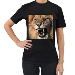 Male Lion Angry Women s T Shirt (black) (two Sided)