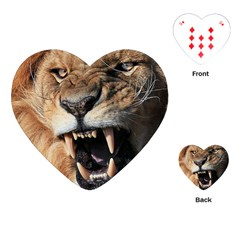 Male Lion Angry Playing Cards (heart)