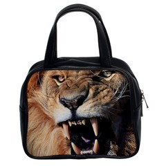 Male Lion Angry Classic Handbags (2 Sides)