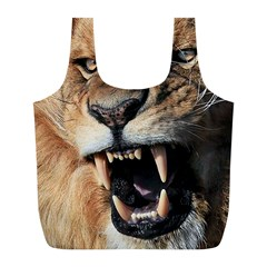 Male Lion Angry Full Print Recycle Bags (l)