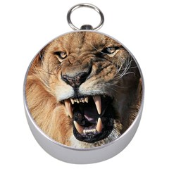 Male Lion Angry Silver Compasses