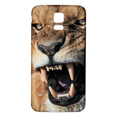 Male Lion Angry Samsung Galaxy S5 Back Case (white)
