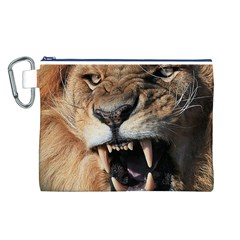 Male Lion Angry Canvas Cosmetic Bag (l)
