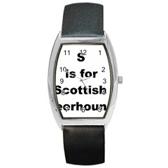 S Is For Scottish Deerhound Barrel Style Metal Watch