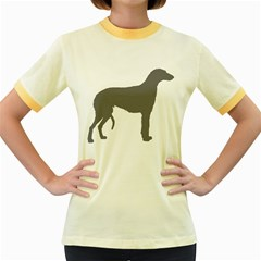Scottish Deerhound Silo Color Women s Fitted Ringer T Shirts