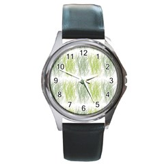 Weeds Grass Green Yellow Leaf Round Metal Watch