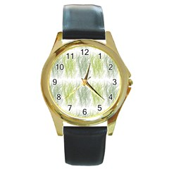 Weeds Grass Green Yellow Leaf Round Gold Metal Watch
