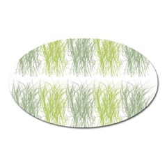 Weeds Grass Green Yellow Leaf Oval Magnet